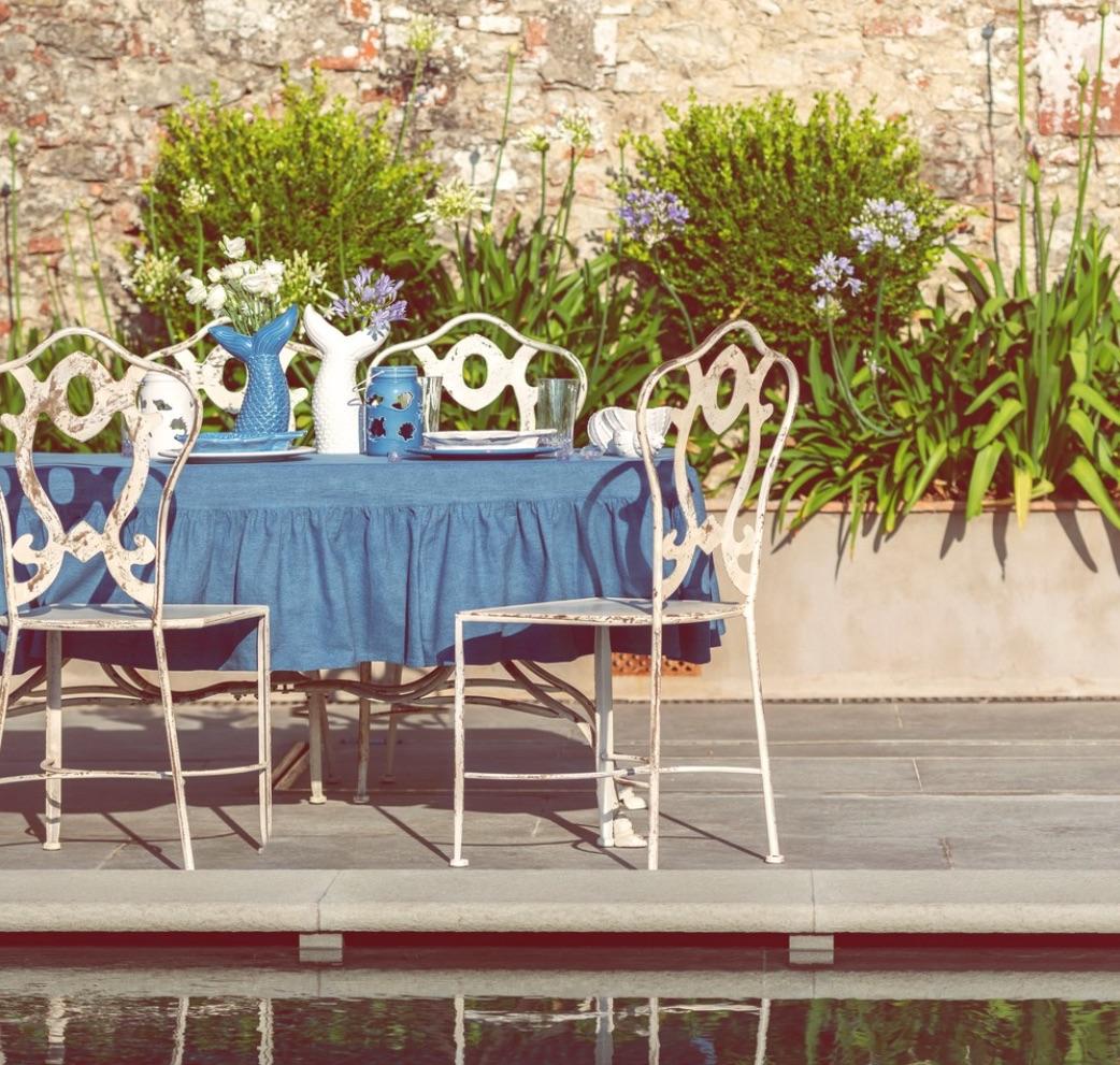 Blanc MariClo' - tessile blue e bianco - Tovaglia con gala serie Denim - Blog