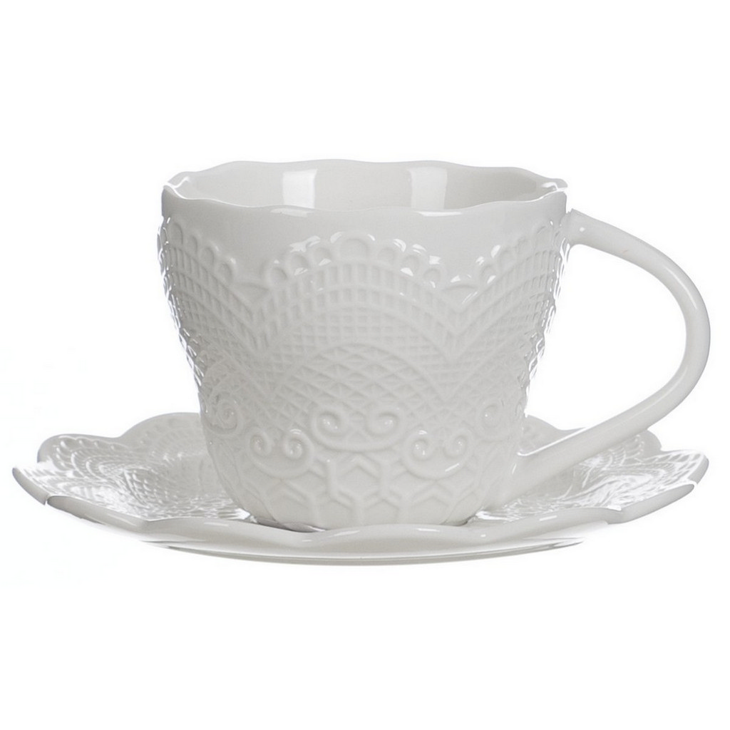 COFFEE CUP W SAUCER (WITHE) A25073