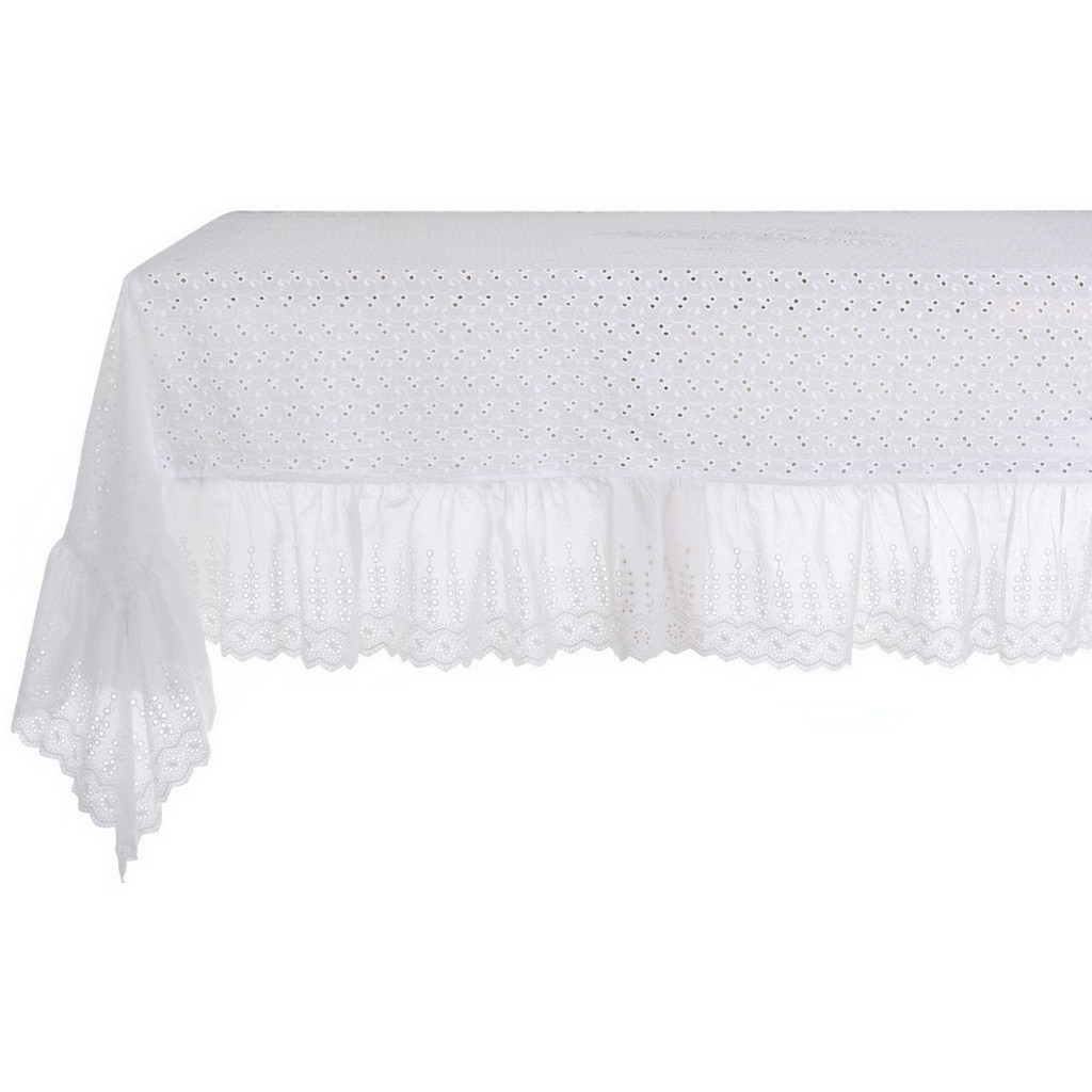 NAPPE BRODERIE ANGLAISE AVEC VOLANT A27080