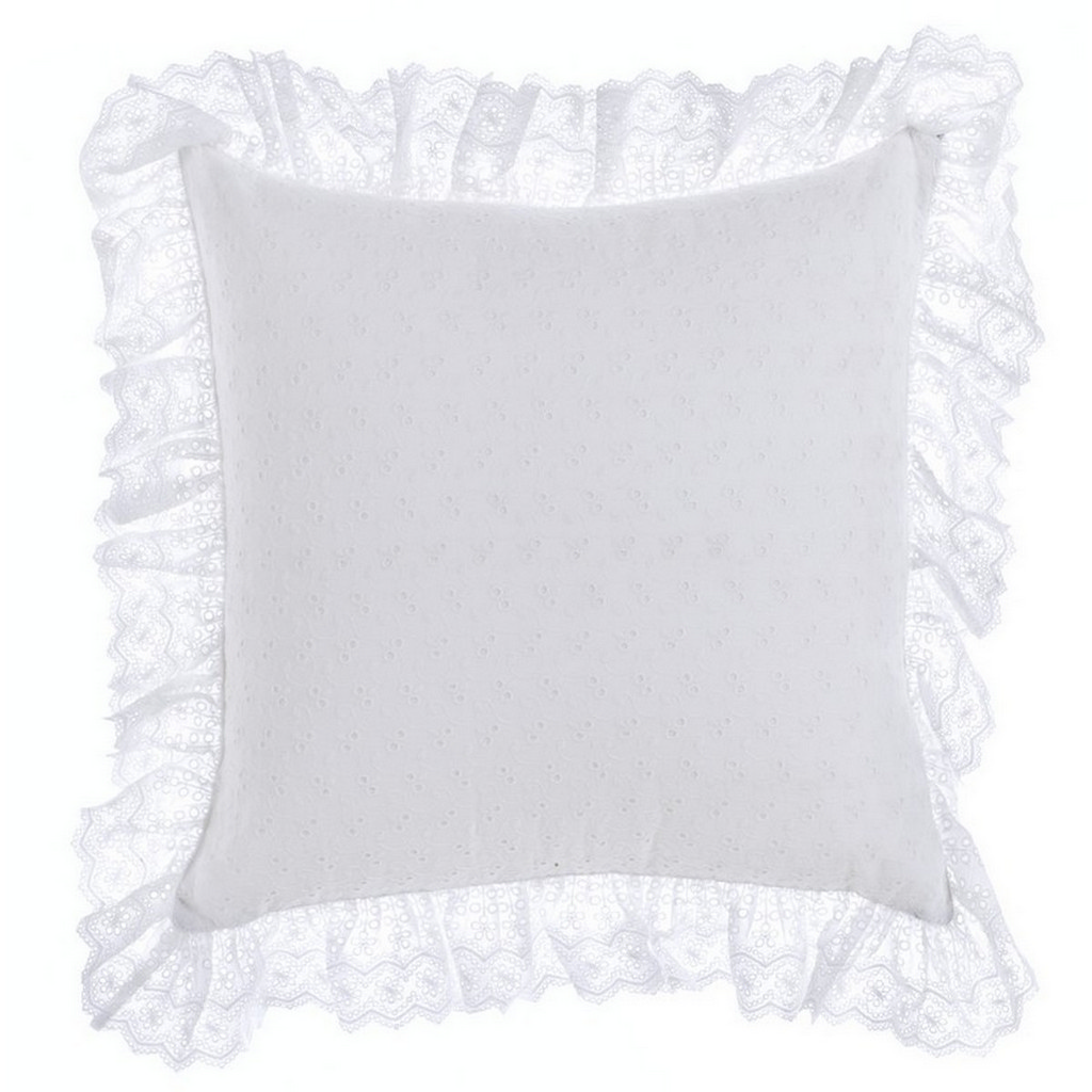 COUSSIN BRODERIE ANGLAISE AVEC VOLANT A27082